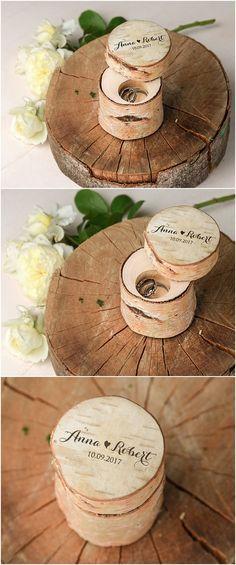 Rustic Wedding Ring Holder Custom Brich Bark Box Engraved Wood Wedding Box Wodden Ring Box Cu Ring Holder Wedding Wedding In The Woods Rustic Wedding Rings