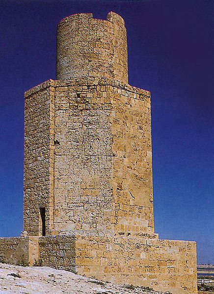A well-preserved ancient tomb in Abusir is thought to be a scaled-down model of the Alexandria Pharos.  The Pharos of Abusir (Arab's Tower) consists of a 3-story tower, approximately 66 feet in height, with a square base, an octagonal midsection and cylindrical upper section, like the building upon which it was apparently modeled. It dates to the reign of Ptolemy II (285–246 BC), and is therefore likely to have been built at about the same time as the Alexandria Pharos.