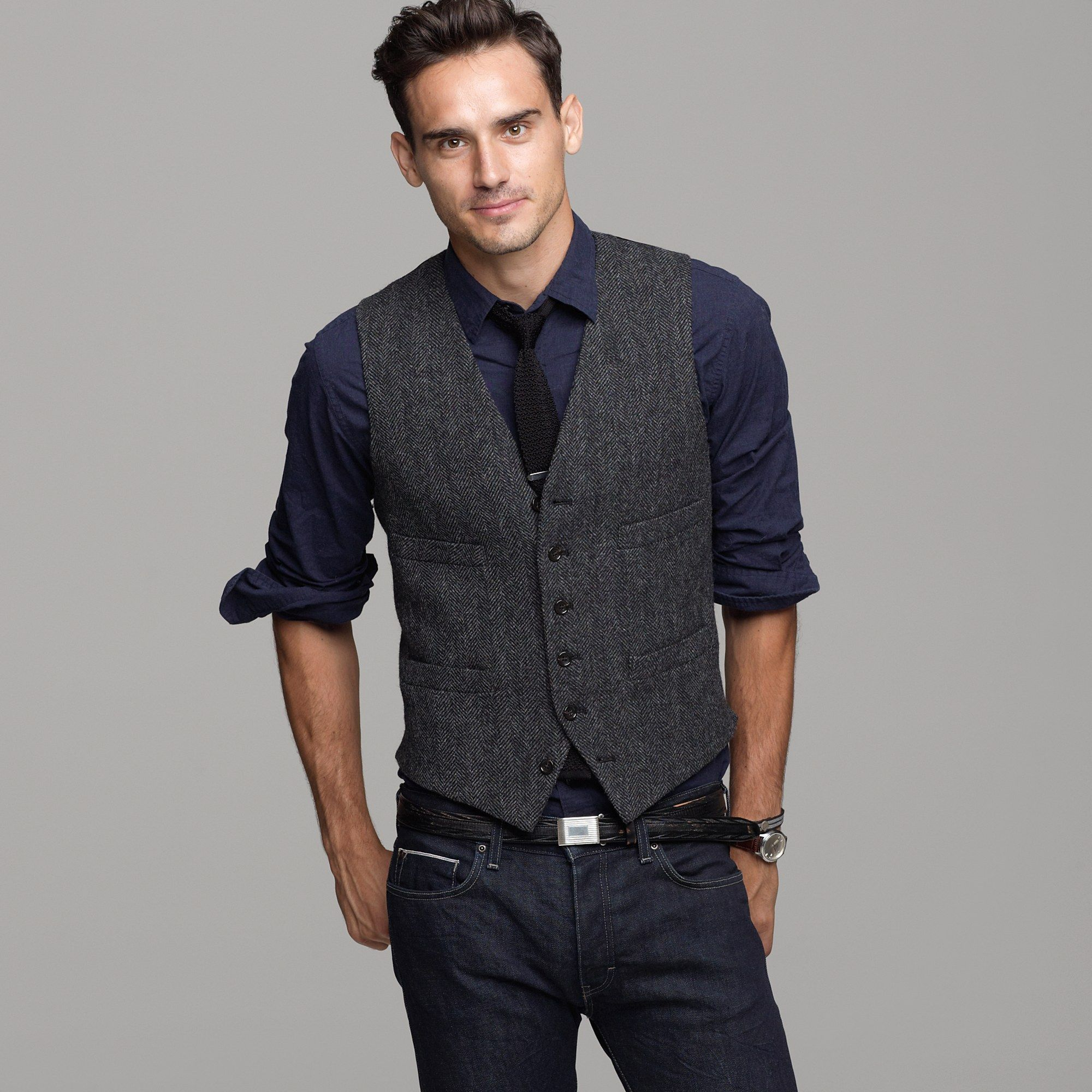 d04b928e8414 J.crew Buckley Herringbone Vest in Gray for Men (charcoal) | Lyst ...