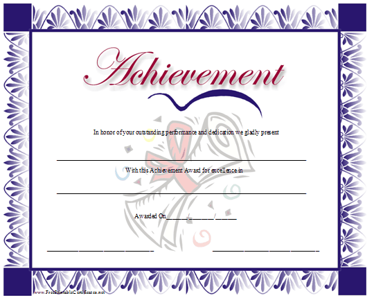 This certificate of achievement has a purple floral border and a – Free Certificate of Achievement