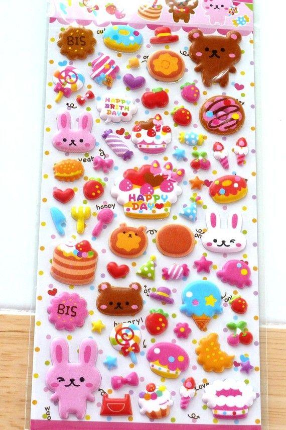 japanese stickers puff happy birthday japan