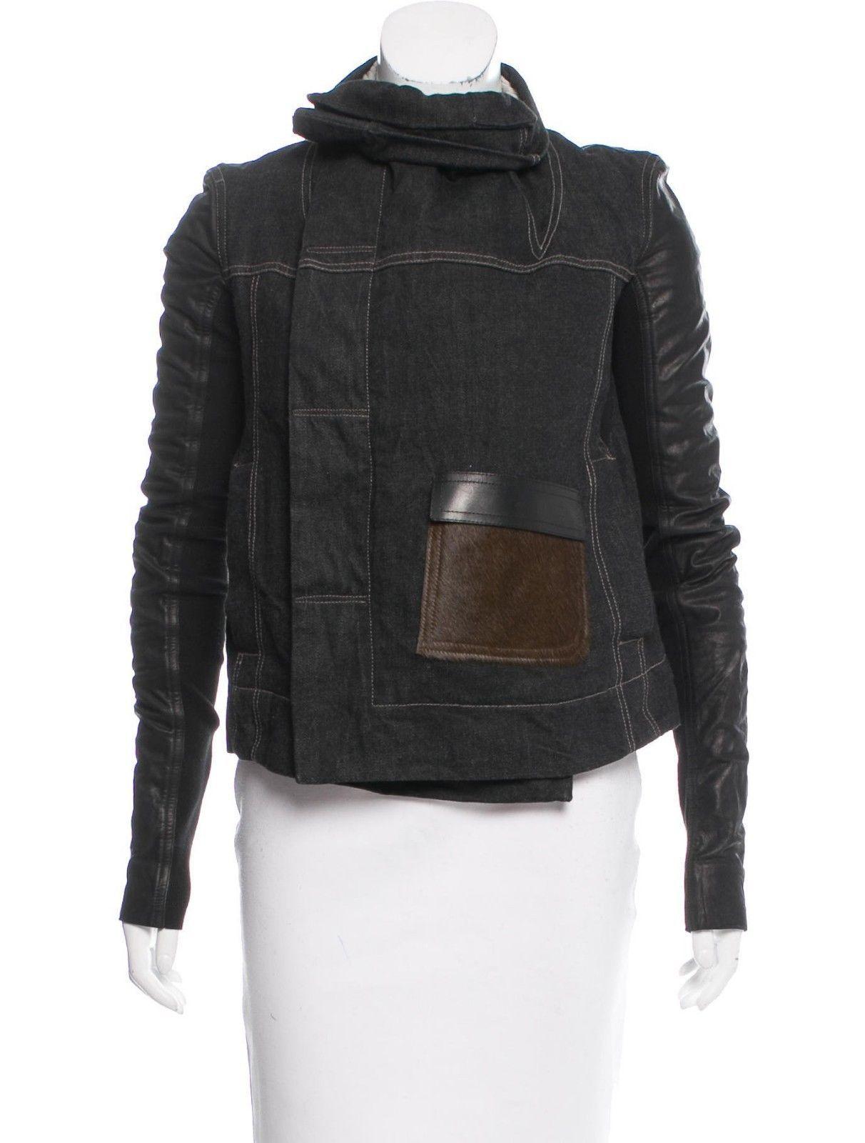 5f485f0ebfa8 Rick owens sale! drkshdw calf fur thick denim leather jacket size ...