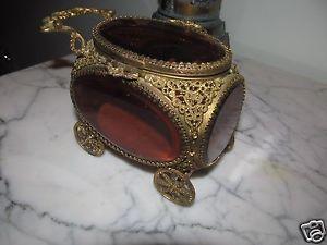 Antique/Vintage Burgundy Beveled Glass/Brass Gilt Ormulu Carriage Jewelry Casket