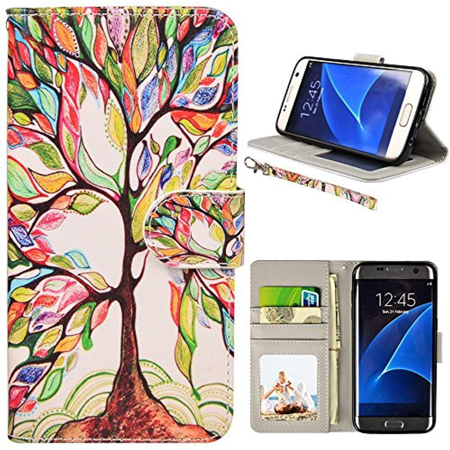 Amazon Com Nouske Samsung Galaxy S7 Wallet Case With Credit Card Holder And Stand Shockproof Pu Leather Flip Bump Samsung Galaxy Samsung Galaxy S7 Wallet Case