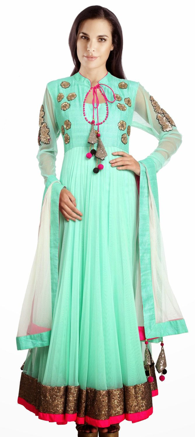MA 153/ women wedding dress suit / Sea green color net anarkali suit ...