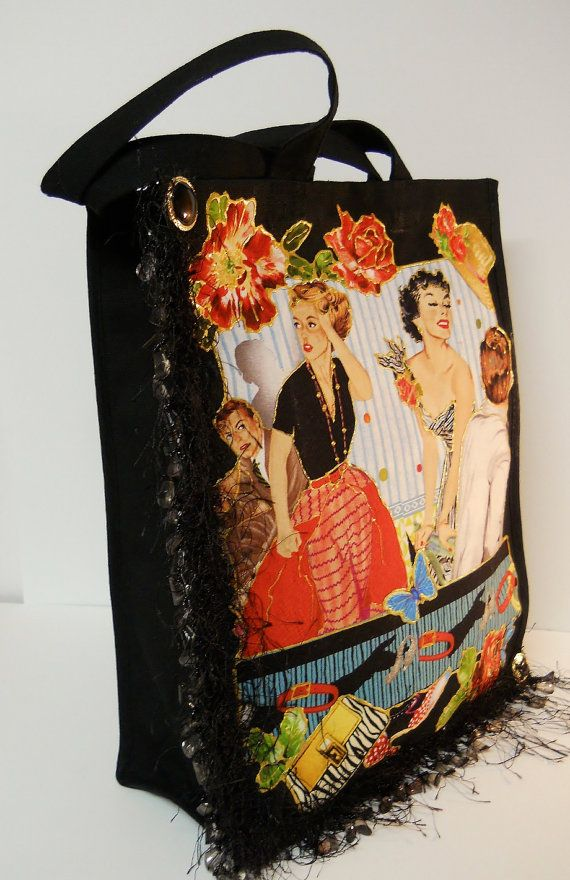 Black Canvas #Tote With Custom #Retro Fabric Applique Design by paulagsell, $42.00