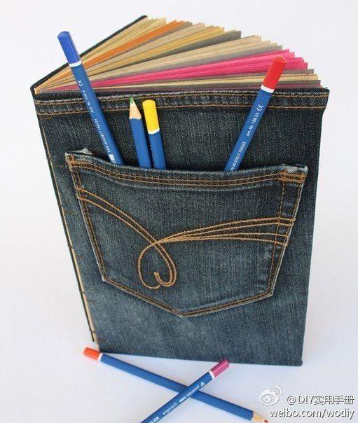 Ideas para el hogar: Tapas de cuadernos con jeans viejos idea!