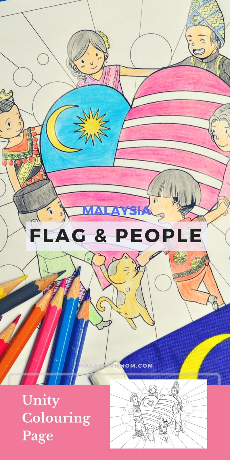PATRIOTIC COLOURING PAGE MALAYSIA | Free printables, Kids learning ...