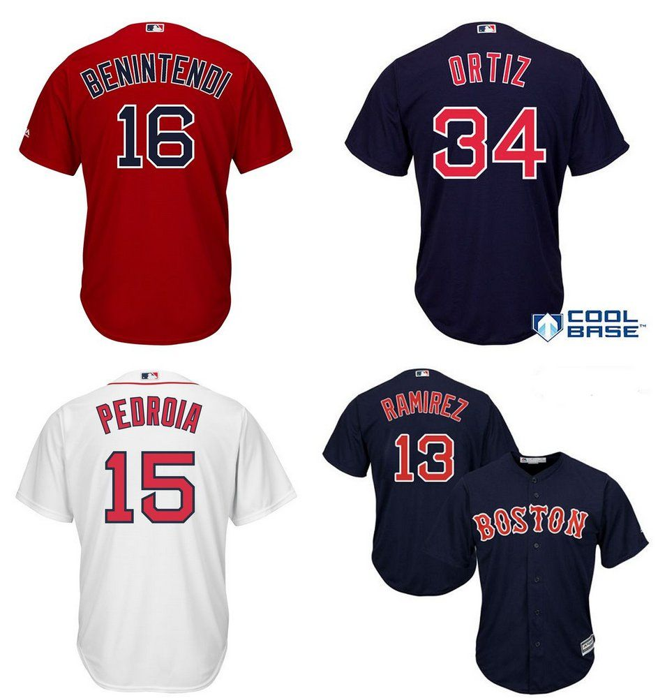 194865f903270 Camisa Boston Red Sox - 28 JD Martinez - 34 David Ortiz - 16 Andrew ...