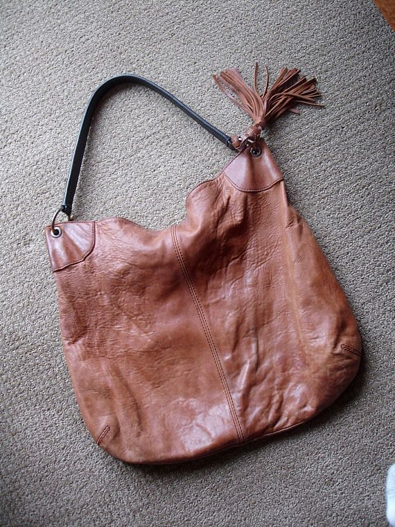 195019257db5 Vintage Cognac Brown Pebbled Leather Hobo Tassel Tote Bucket Bag ...