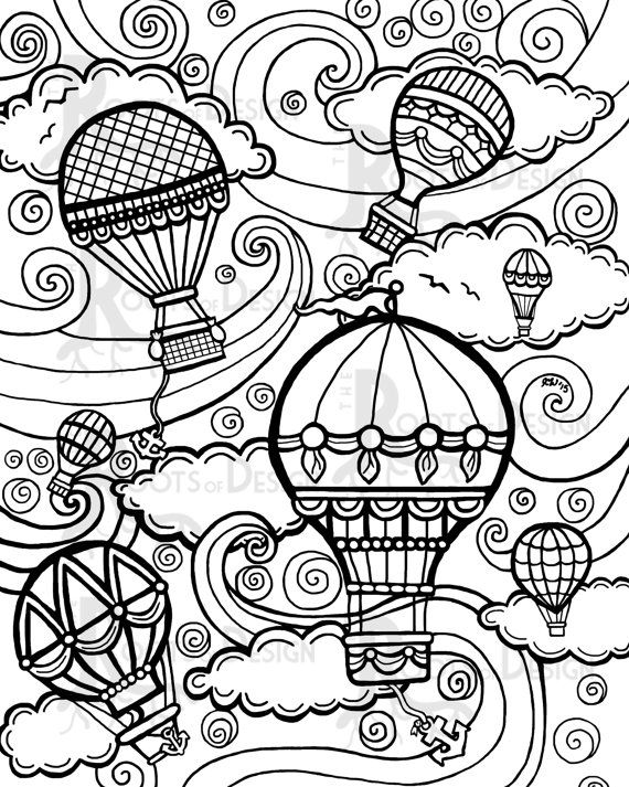 instant download coloring page - hot air balloons vintage ... - Hot Air Balloon Pictures Color