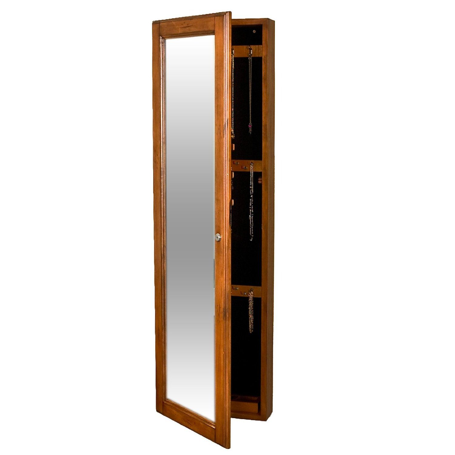 Amazon Com Sei Wall Mount Jewelry Armoire With Mirror Oak Home Kitchen Wall Mounted Jewelry Armoire Jewelry Mirror Hanging Wall Mirror