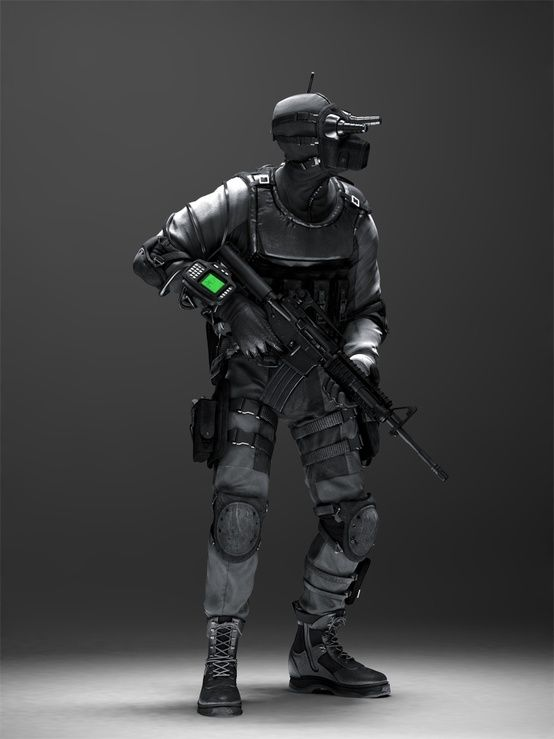 cyberpunk, future soldier, armor, man in black, weapon, futuristic, man with gun, night vision, future police, weapon, character, miltary by...