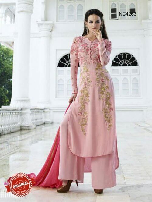 Buy Pink Semi Georgette Palazzo Suit Online   Regal Pakistani Suits ...