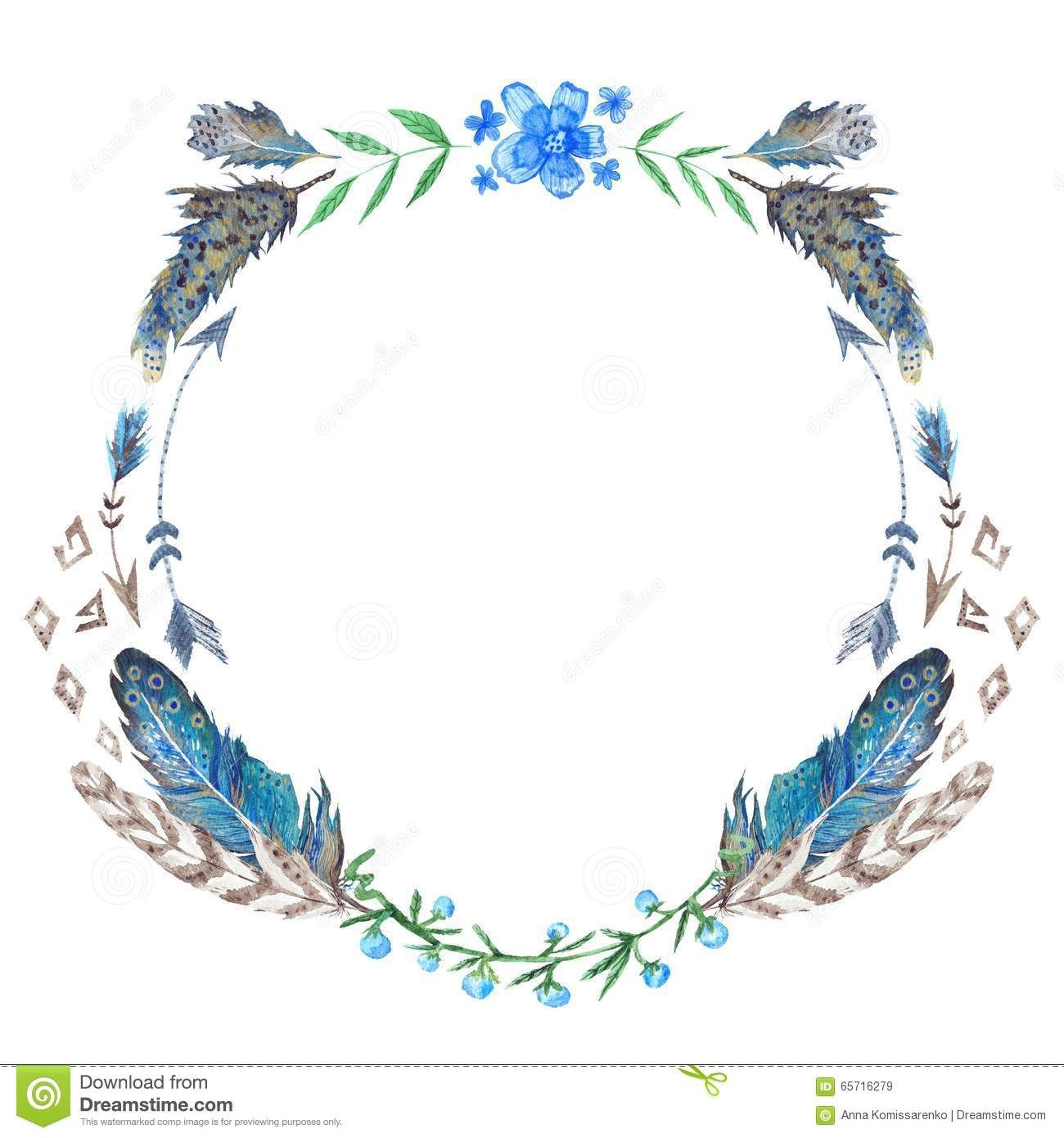 Watercolor boho wreath download from over 45 million high quality photo about creative tribal style round frame with blue forest flowers and feathers 65716279 izmirmasajfo Gallery