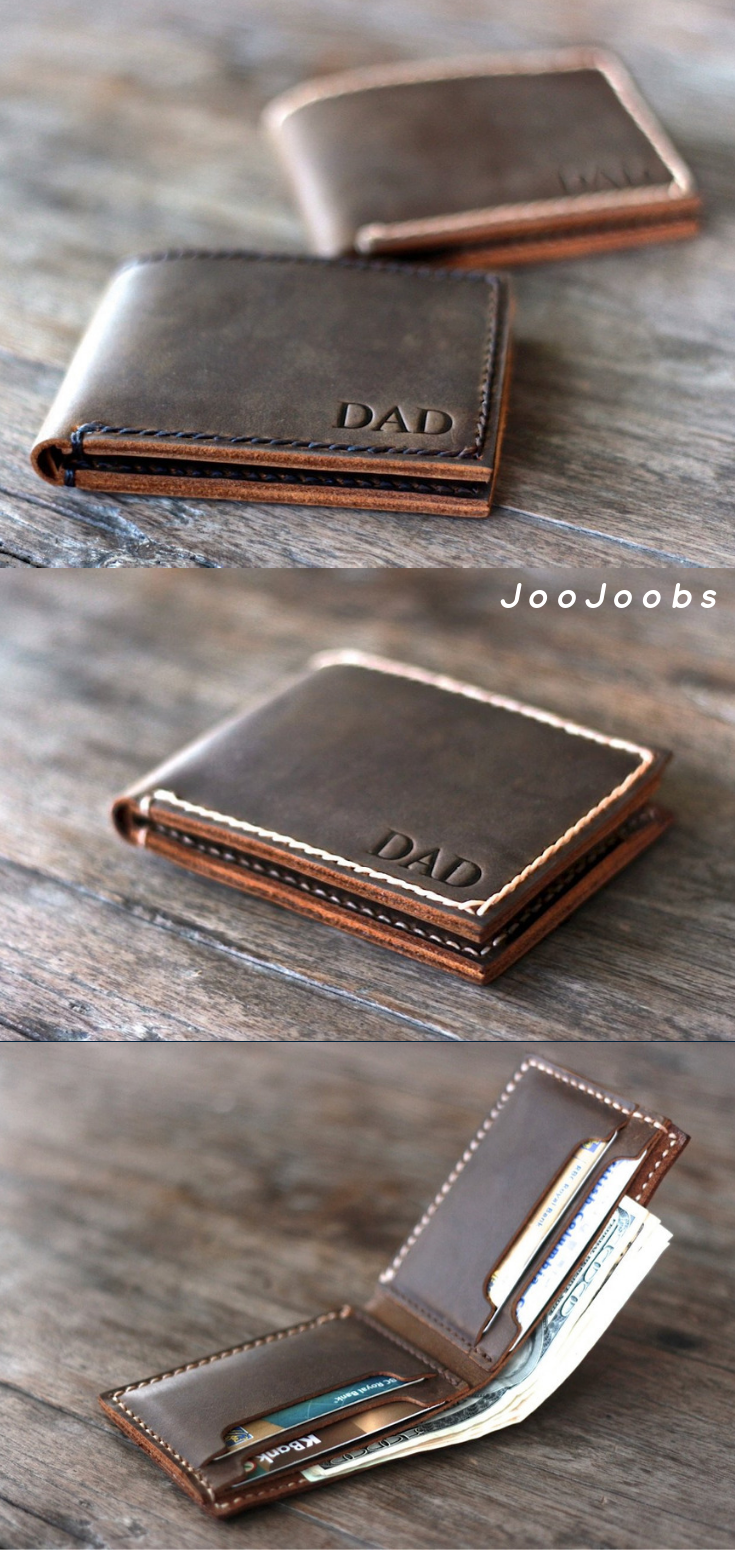 3c5d5f349e30 Personalized Mens Leather Bifold Wallet✦Handmade Full Grain Distressed Leather  Wallet✦Leather Products by the master craftspeople at JooJoobs✦Full Grain  ...