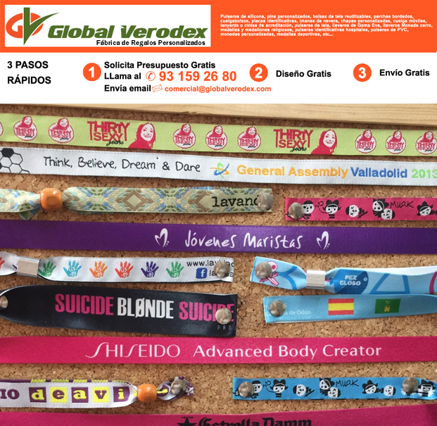 9b80cff9d779 pulseras de tela promocionales y publicitarias. ejemplos. ejemplos de  pulseras de silicona personalizadas 2015. Fabricantes directos.