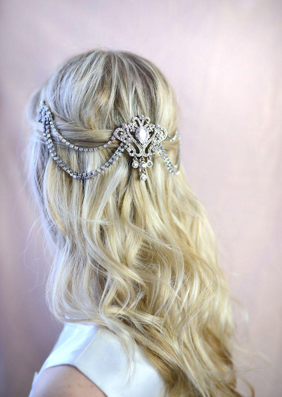 bridal hair chain grecian draped