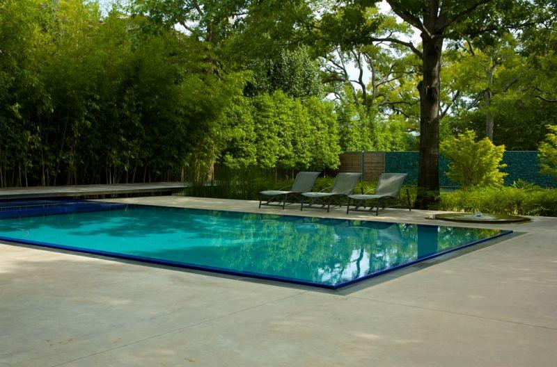 Terrassen Sichtschutz Mit Pflanzen Poolbereich Bambus üppig
