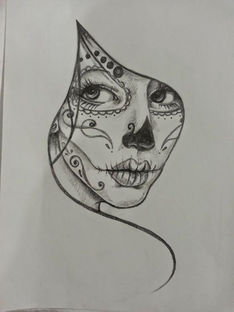 Teschi messicani tatto un disegno in bianco e nero della for Immagini teschi disegnati