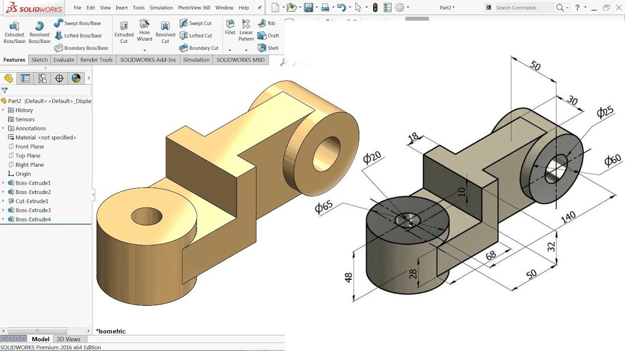 SolidWorks Tutorial for beginners Exercise 39 - YouTube