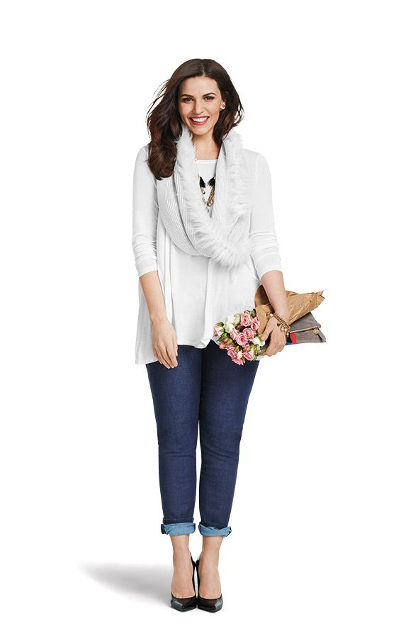The white tee, skinny jeans and scarf look like this when paired together!