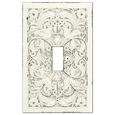 montage filigree 1gang antique white standard toggle metal wall plate adds a timeless and