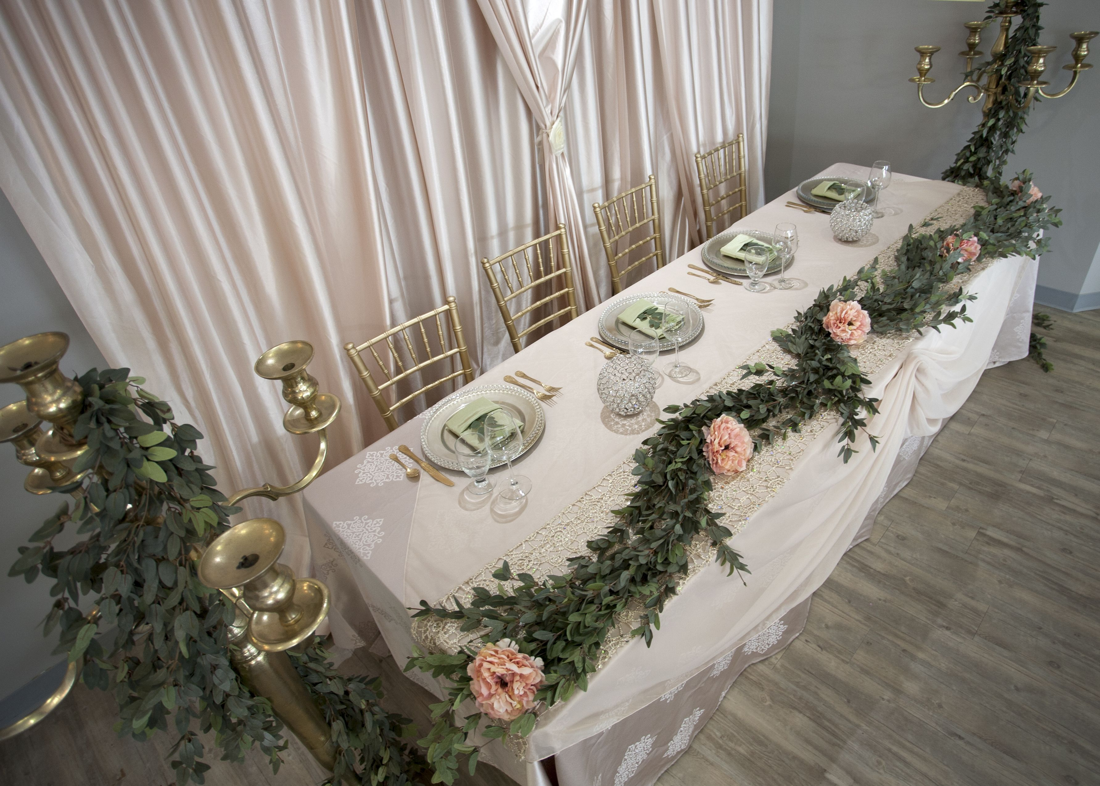Wedding decorations tulle and lights  Champagne Damask from above  Wedding Head Tables  Pinterest