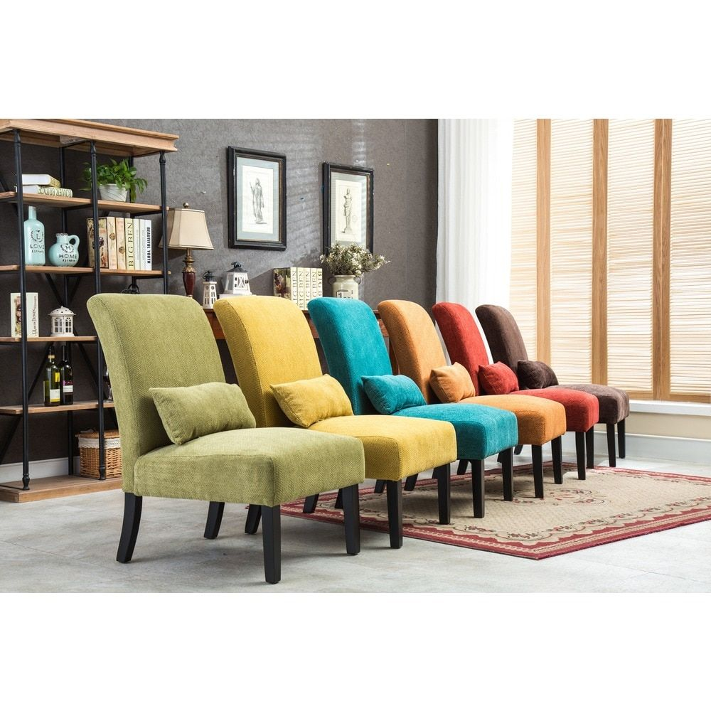 Pisano chenille Fabric Armless Contemporary Accent Chair with