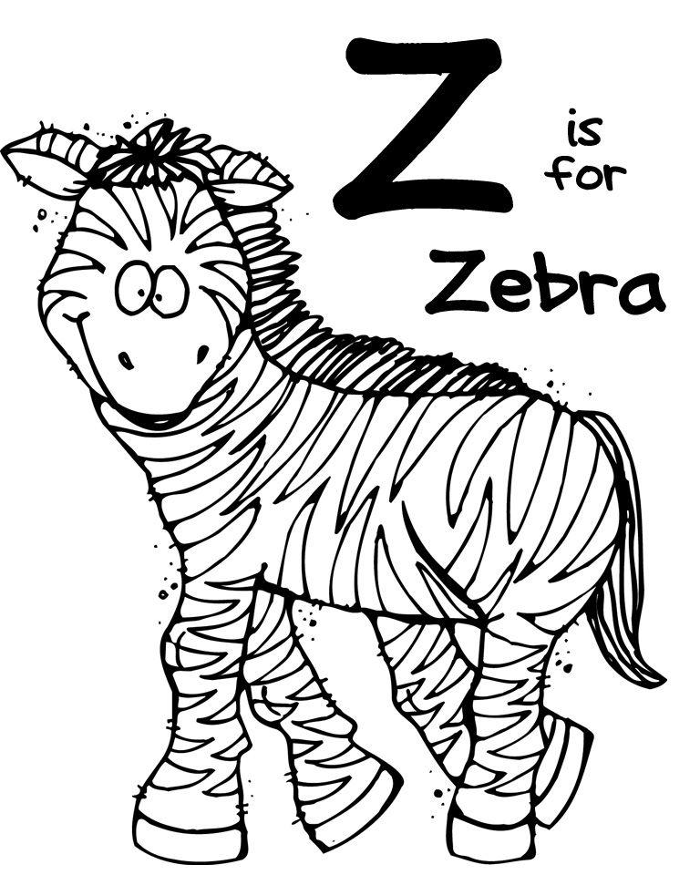 We Love Being Moms! Letter Z (Zebra) Animal coloring
