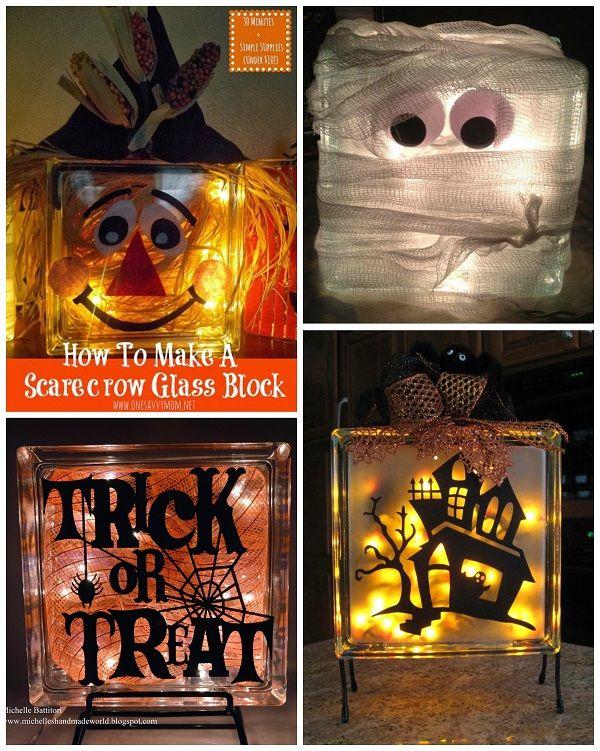 Fallhalloweenglassblockideas Fall Stuff Pinterest Glass - Halloween vinyl decals for glass blocks