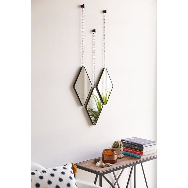 Umbra Dima Mirror Set 49 Liked On Polyvore Featuring Home Decor Mirrors Black 3 Piece Wall Inspirational