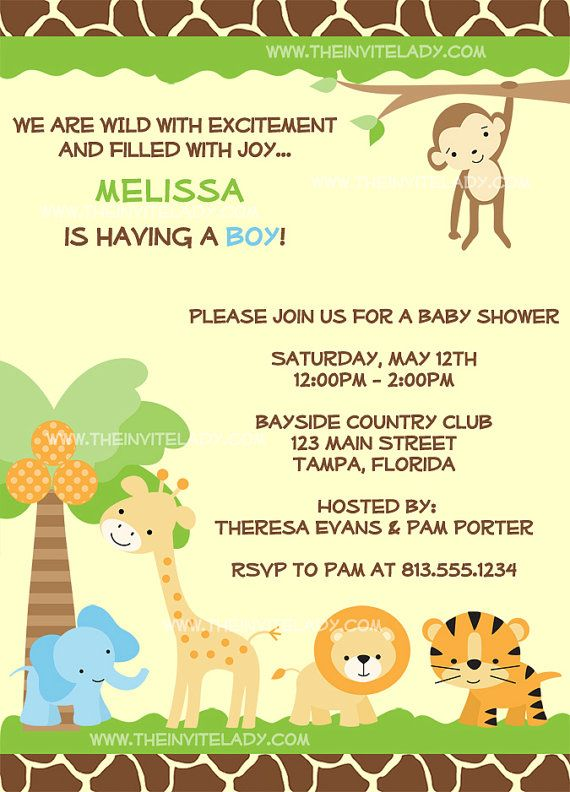 Jungle Baby Shower Invites Zoo Animal Baby by PeekabooPenguin - baby shower templates for word