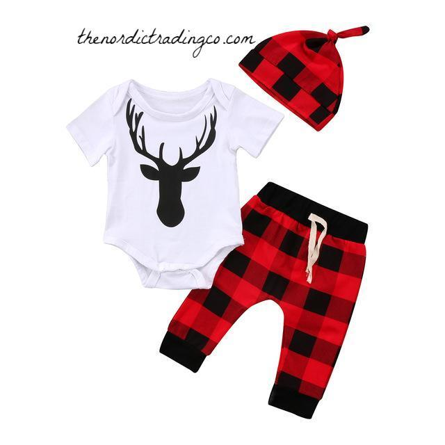 c7d66ec51 Lumber Jack Buffalo Plaid Nordic Baby Shower Gift Ideas Boy Boy's 3 pc  Outfit Deer Rustic Sets Infant NB 6 9 12 18 mo
