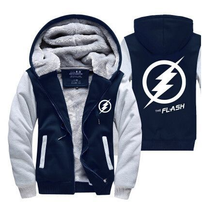 Hot New Justice League The Flash Barry Allen Hoodie Logo Winter JiaRong Fleece Mens Sweatshirts Free Shipping