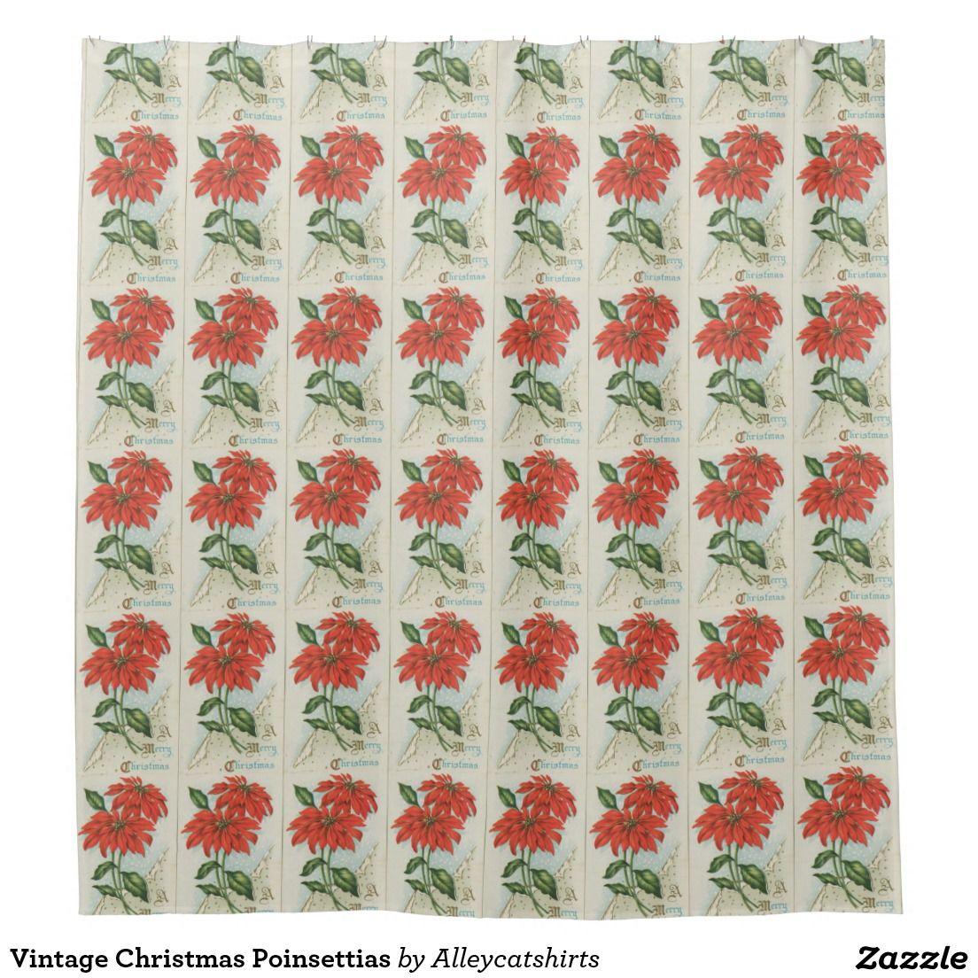 Vintage Christmas Poinsettias Shower Curtain