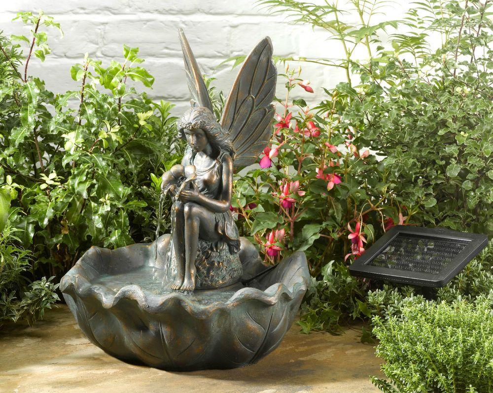 fairy leaf solar water fountain solar powered garden water feature 42cm h - Solar Water Fountain