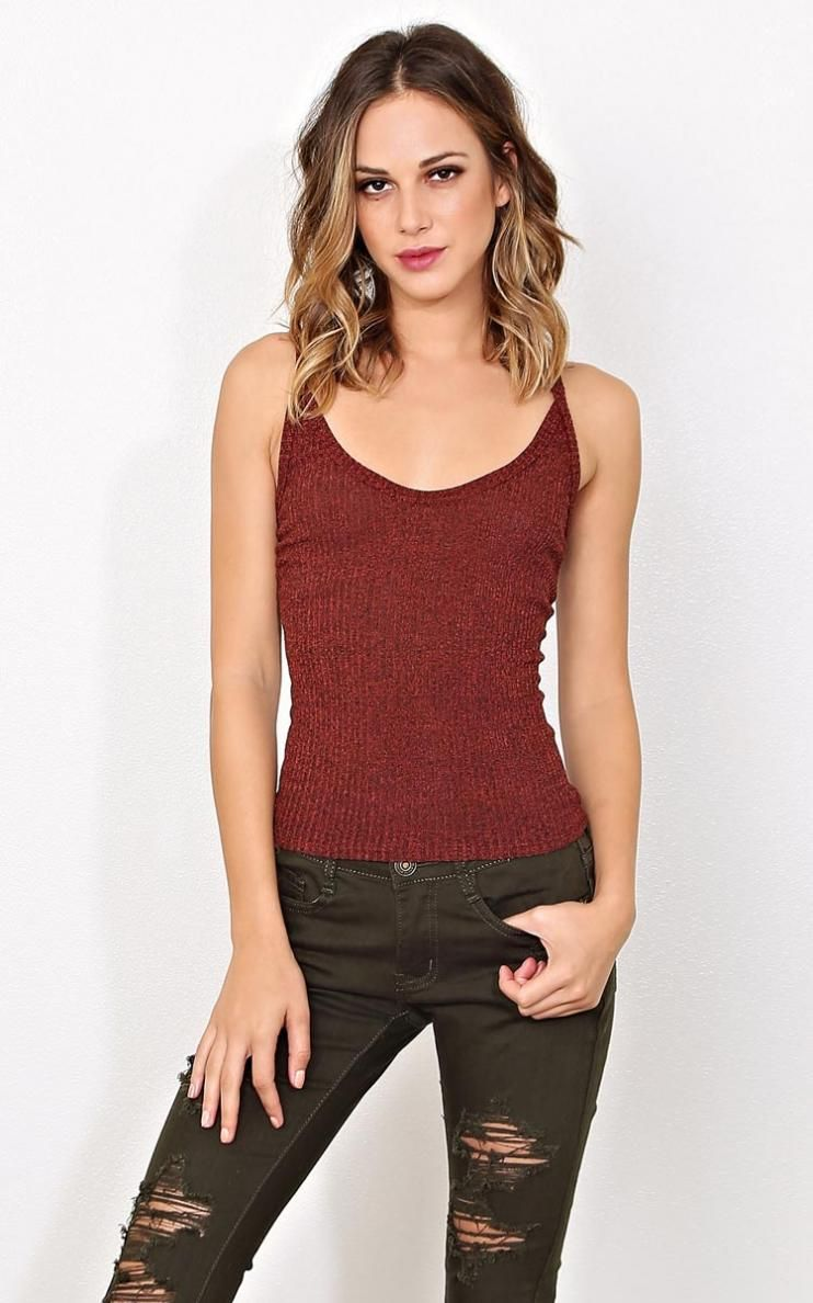 Gypsy Trade Rib Knit Tank LGE Rust in Size Large by Styles For Less