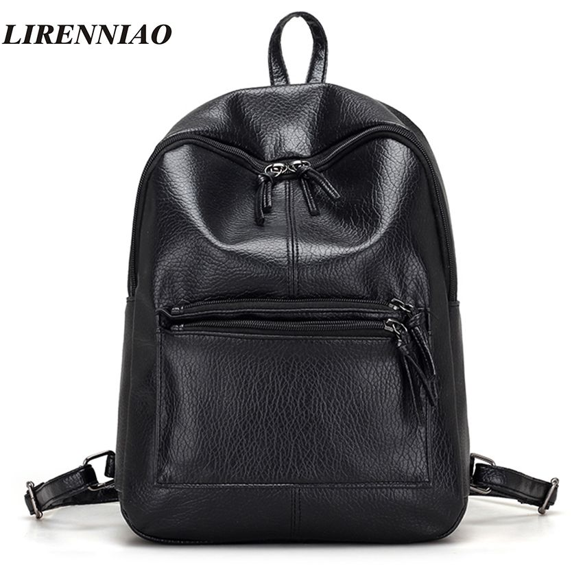 LIRENNIAO Brand Fashion Black Women Backpack Women PU Leather Backpack High  Quality Backpacks Famous Brand Schoolbag Backbags f8aa70f834a88