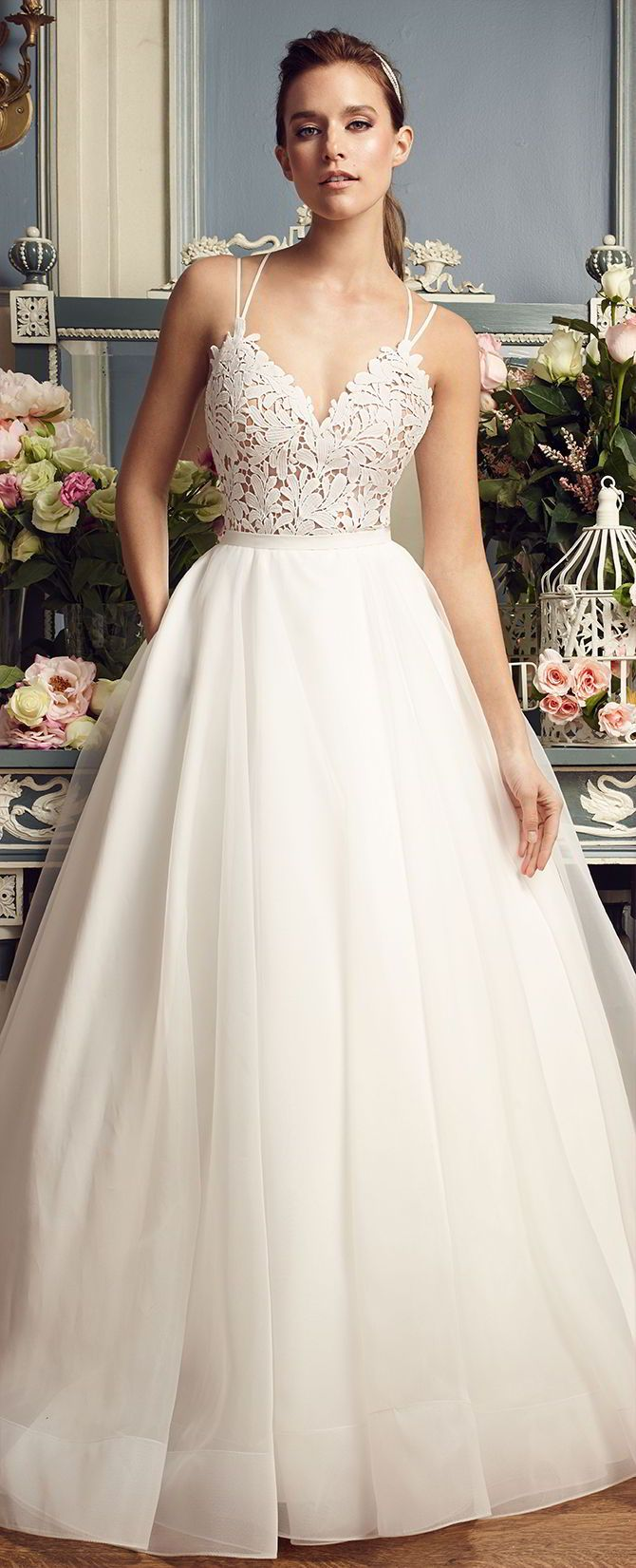 Mikaella bridal fall guipure lace and organza wedding dress