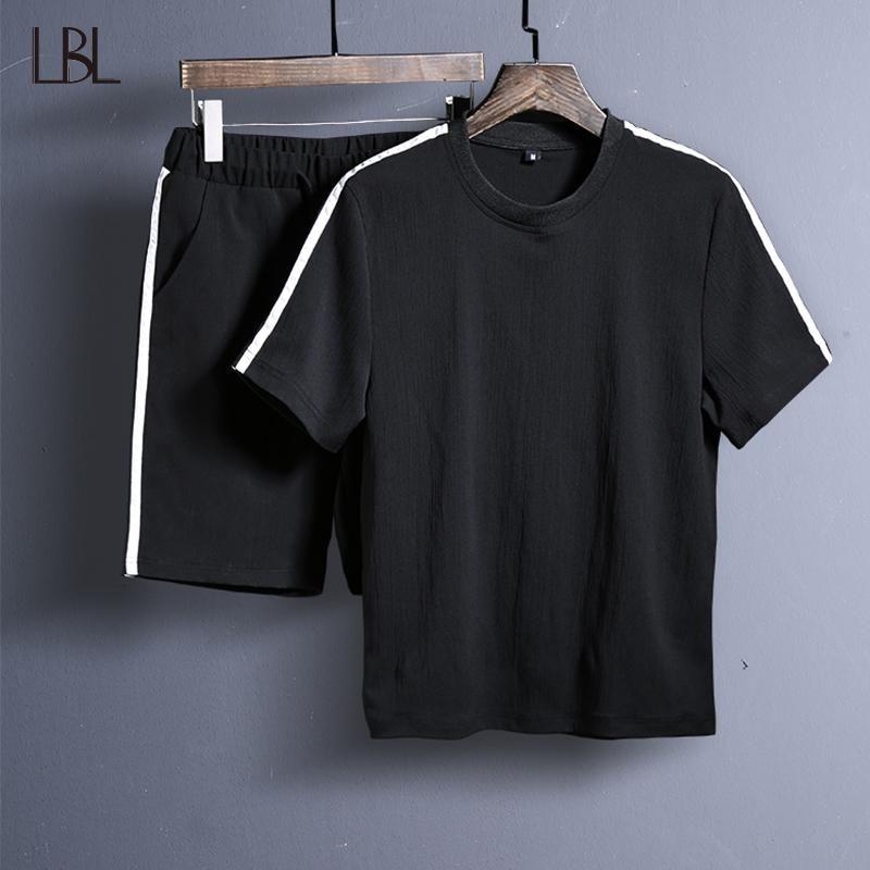 Men Cotton Blend Short Sleeve Beach Casual T-shirts Short Pants Suit 2Pcs Summer
