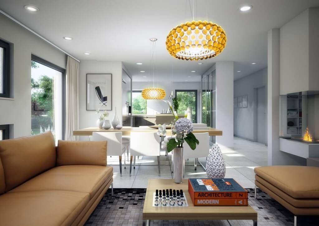 Innenraum Wohnzimmer - Haus Concept-M 152 Bien Zenker - moderner - wohnzimmer mit offener küche gestalten