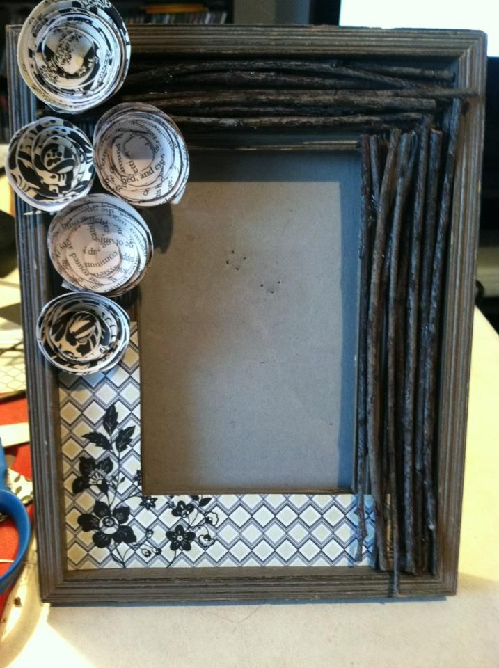 Decorated picture frame I made using twigs, scrapbook paper and ...