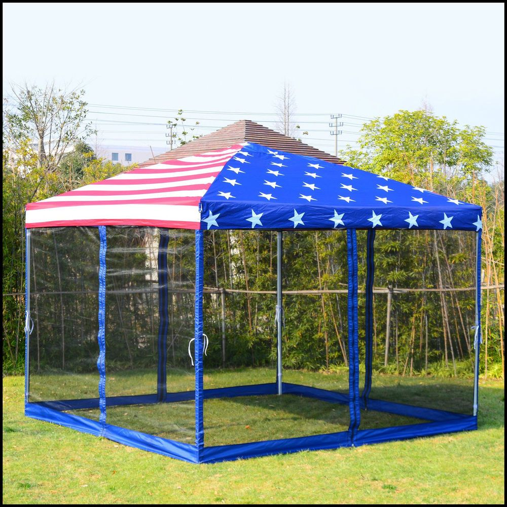 Pop Up Canopy Tent Mesh Wall American Flag Print Party 10x10 Steel Fabric Us 188 85 Popupcanopytent Patio Gazebo Gazebo Garden Gazebo