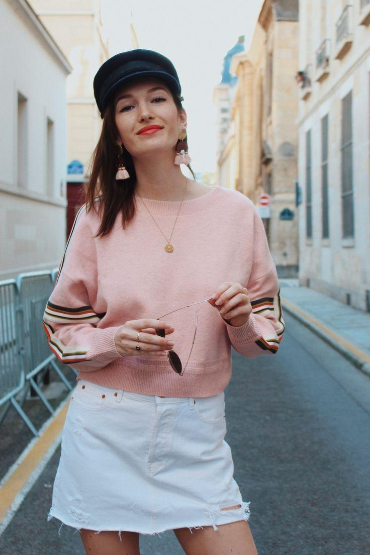 Le look du jour : sweat Isabel Marant et mini jupe