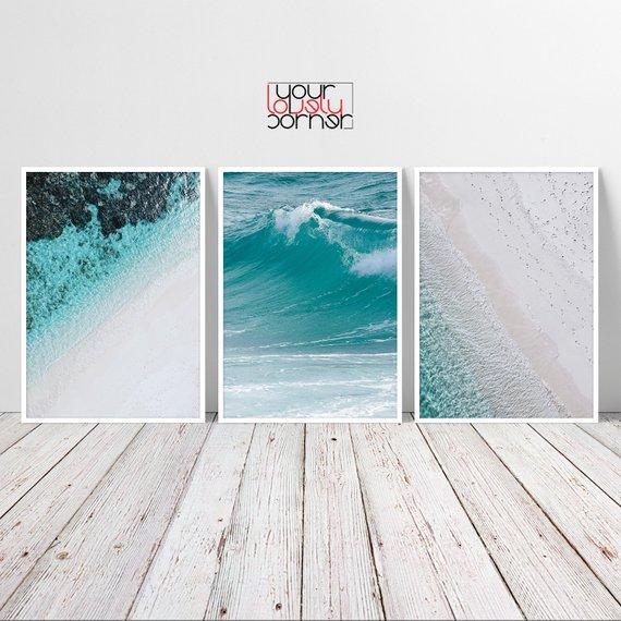 Beach Wall Art Set Of 3 Prints Ocean Waves Printable Wall Art