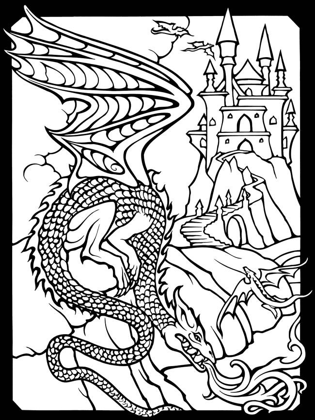 Wizards And Dragons Stained Glass Coloring Book Dover Publications