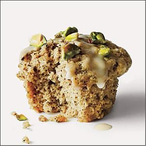 These healthy muffins get their unique flavor from chai tea blend and roasted chopped pistachios.
