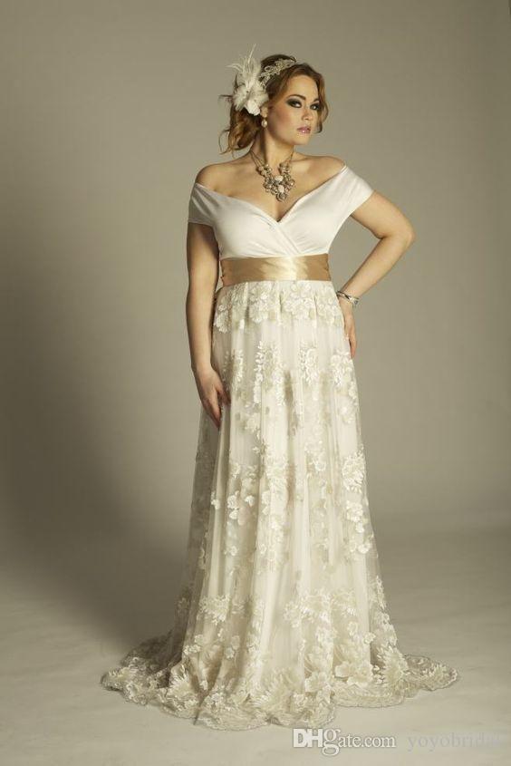298c91e294e5 Classic Beach Plus Size Wedding Dress Off the Shoulder Short Sleeve Lace  Pleated Ribbon Discount Bridal