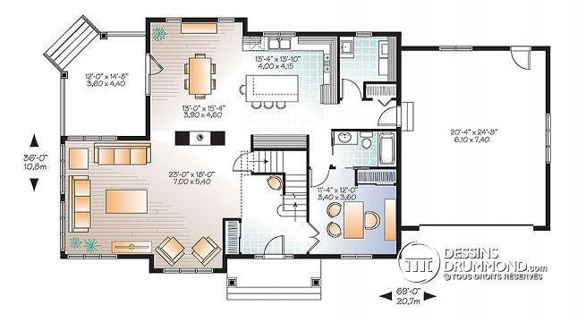 W3816-V1 - Plan maison Craftsman, poutres bois rustique, 4+ chambres - plan maison une chambre